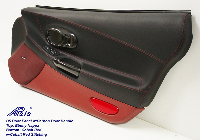 C5 Door Panel-ebony+cobalt red w-carbon door pull-pass-3