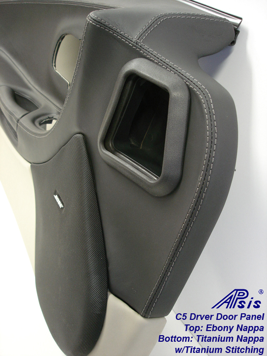 C5 Door Panel-ebony + titanium w-Ti stitching-close shot-2