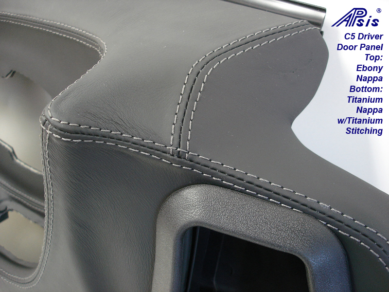 C5 Door Panel-ebony + titanium w-Ti stitching-close shot-3