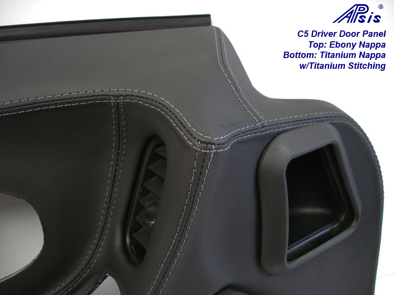 C5 Door Panel-ebony + titanium w-Ti stitching-close shot-4