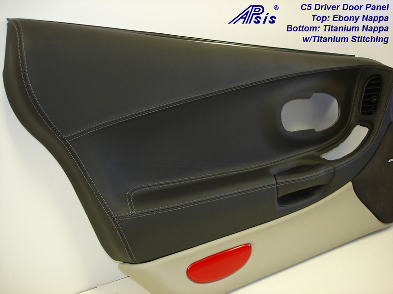 C5 Door Panel-ebony + titanium w-Ti stitching-close shot-6-rear view-no flash