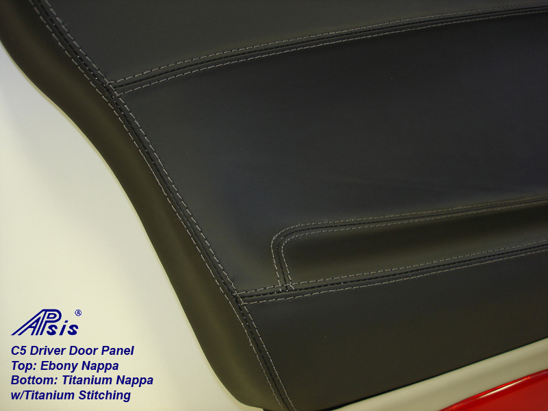C5 Door Panel-ebony + titanium w-Ti stitching-close shot-7
