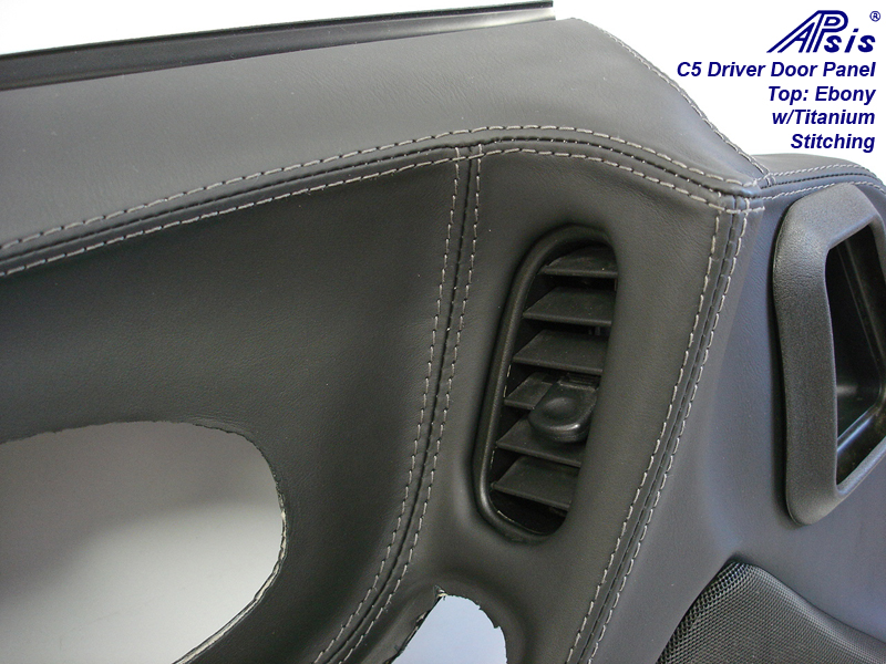 C5 Door Panel-ebony + titanium w-Ti stitching-close shot-9