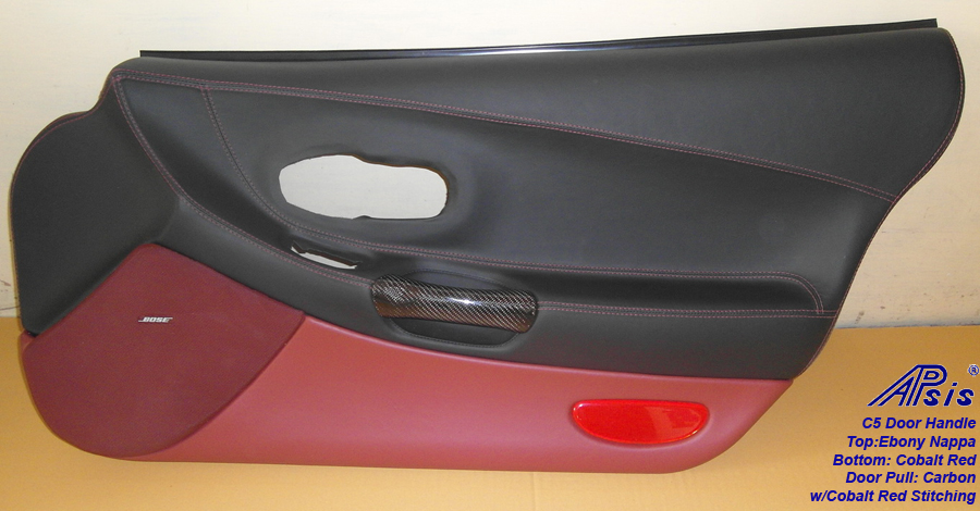 C5 Door Panel w-carbon door pull-ebony+cobalt red-pass-1