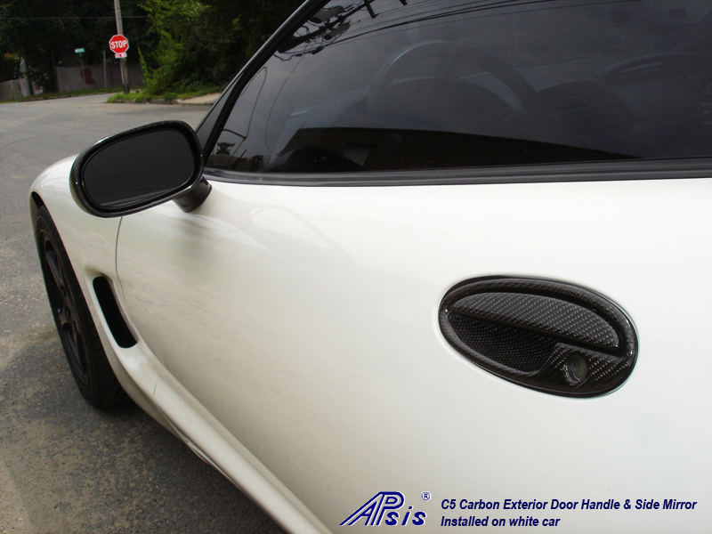 C5 Exterior Door Handle + Side Mirror-CF-driver-installed-rear view-1