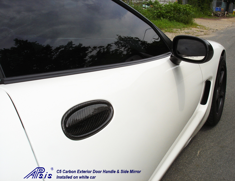 C5 Exterior Door Handle + Side Mirror-CF-pass-installed-rear view-1
