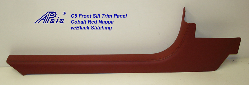 C5 Front Sill Trim-Cobalt Red Nappa w-black stitching-driver-individual-2