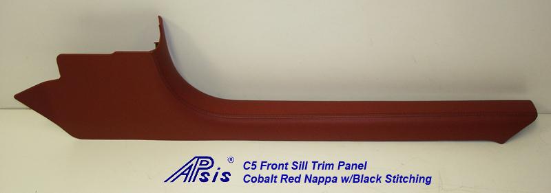 C5 Front Sill Trim-Cobalt Red Nappa w-black stitching-pass-individual-1