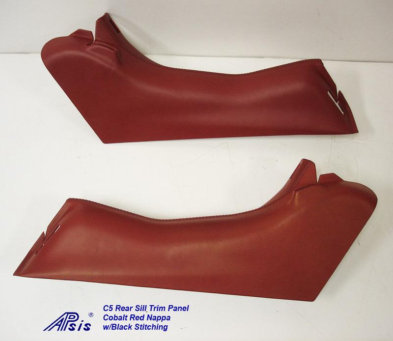 C5 Rear Sill Trim-cobalt red w-black stitching-pair-1