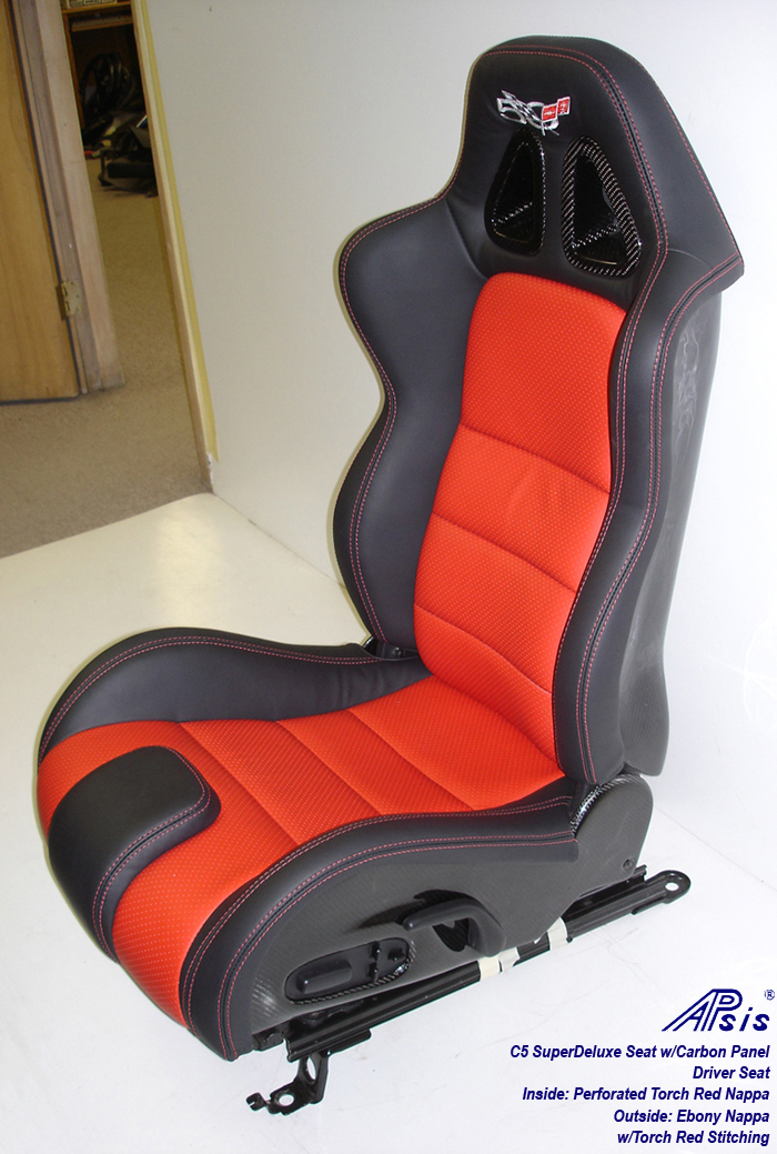 C5 SuperDeluxe Seat w-CF-ebony+perf torch red-driver only-side view-1