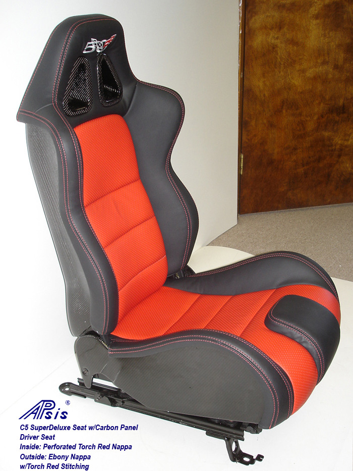 C5 SuperDeluxe Seat w-CF-ebony+perf torch red-driver only-side view-2