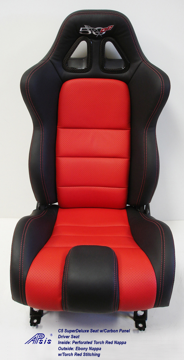 C5 SuperDeluxe Seat w-CF-ebony+perf torch red-driver only-straight-1