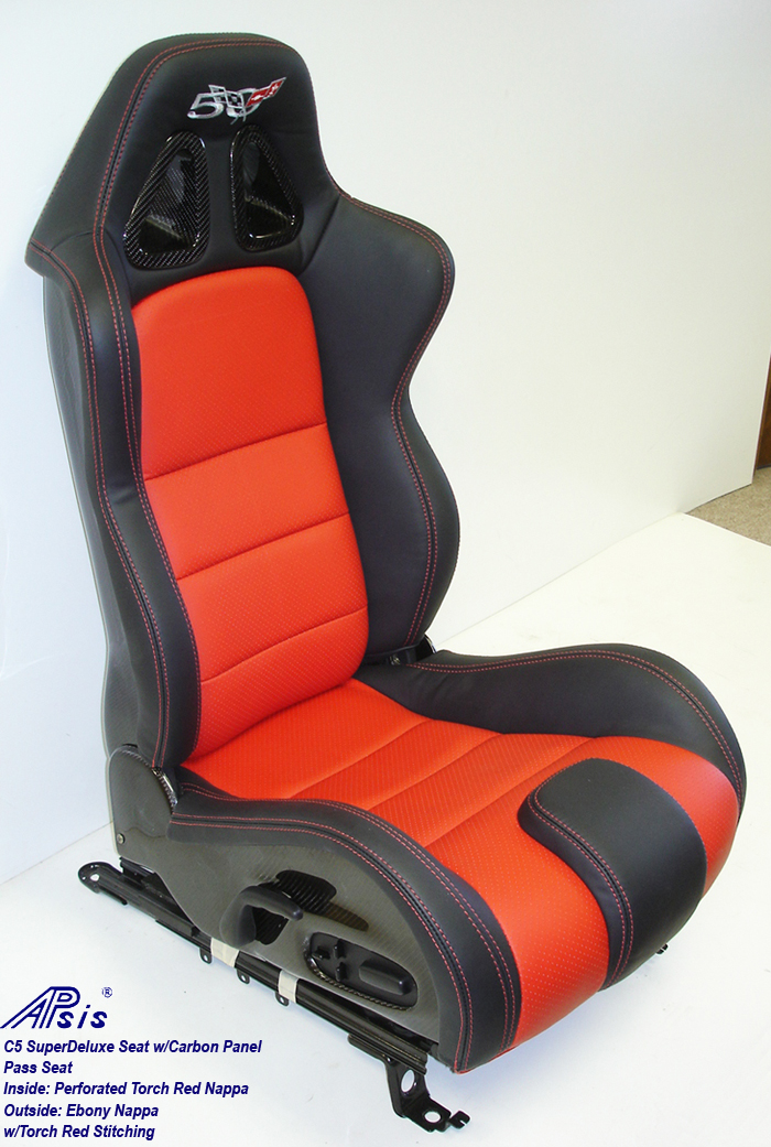 C5 SuperDeluxe Seat w-CF-ebony+perf torch red-pass only-1