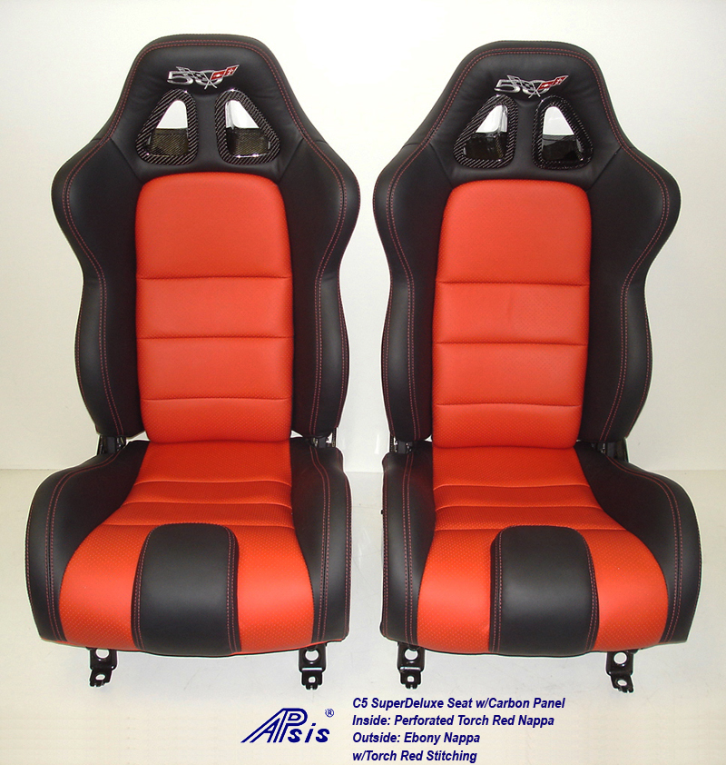 C5 SuperDeluxe Seat w-carbon ebony+perf torch red w-50th anniversary logo-pair-1