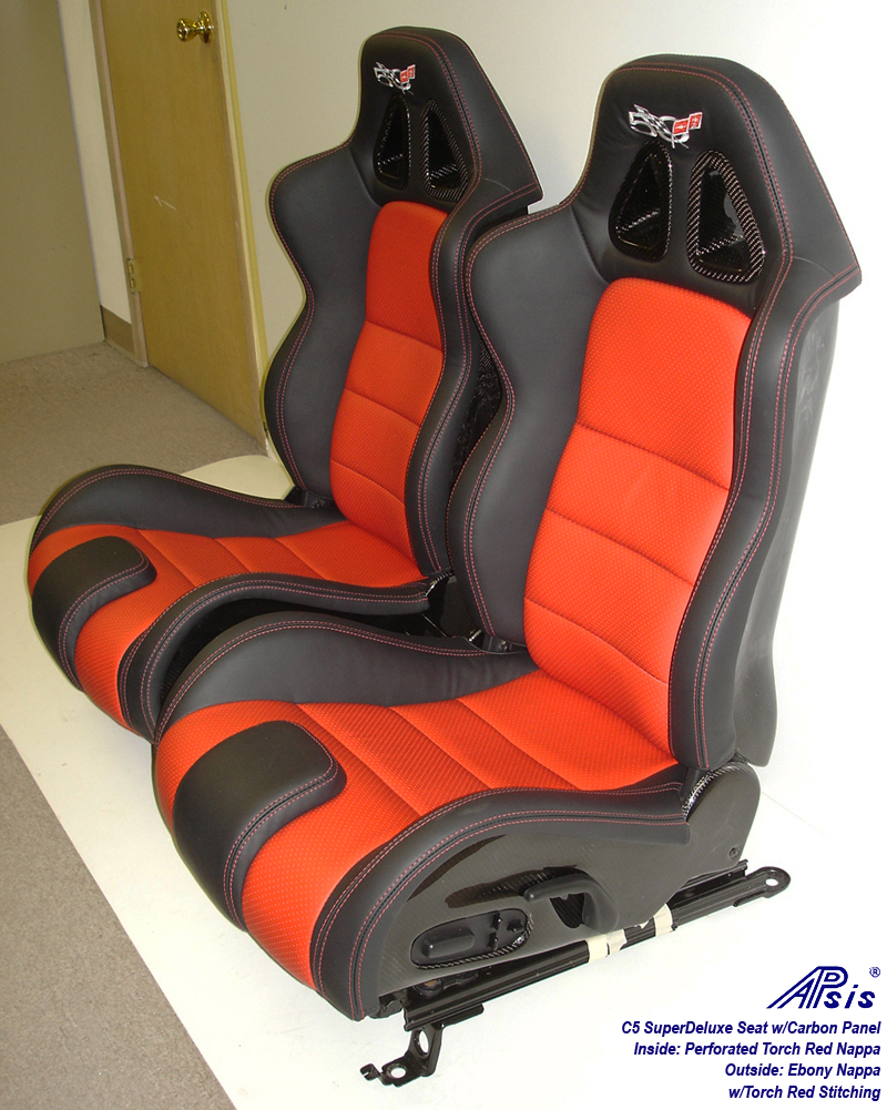 C5 SuperDeluxe Seat w-carbon ebony+perf torch red w-50th anniversary logo-pair-5b w-flash