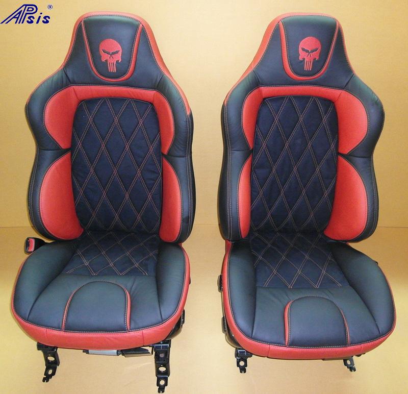 C5 UltraDeluxe Seat-ebony+vy w-skull-2-pair