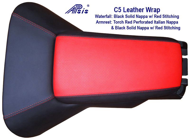 C5 Waterfall & Armrest -in Torch Red Nappa Nuance w- Red Stitching 800