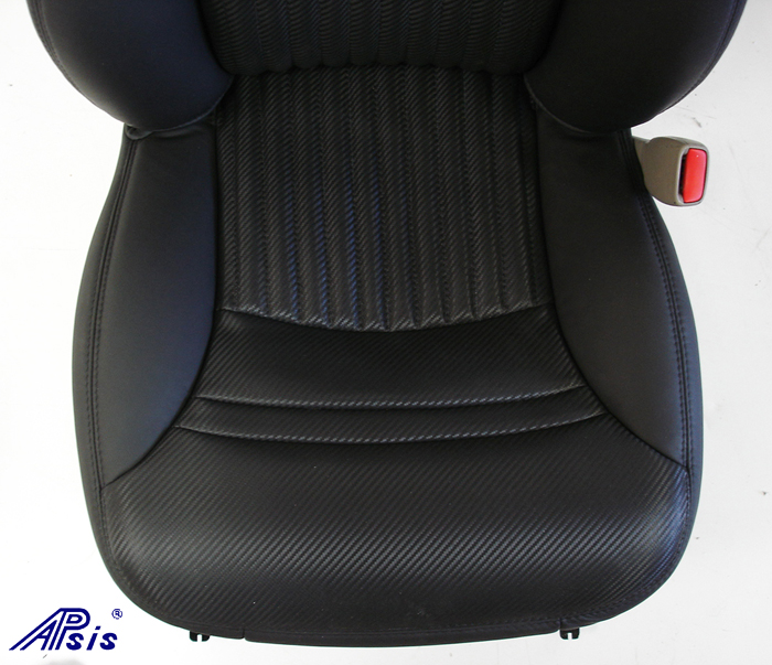 C5 Z06 Seat Cover w-half carbon leather half nappa w-blk stitching-close shot-2