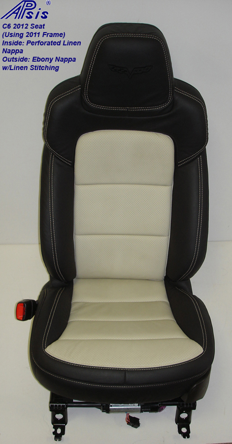 C6 2012 Seat Cover-ebony+linen-driver-front view-2a-better