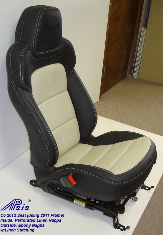 C6 2012 Seat Cover-ebony+linen-driver-side view-1a