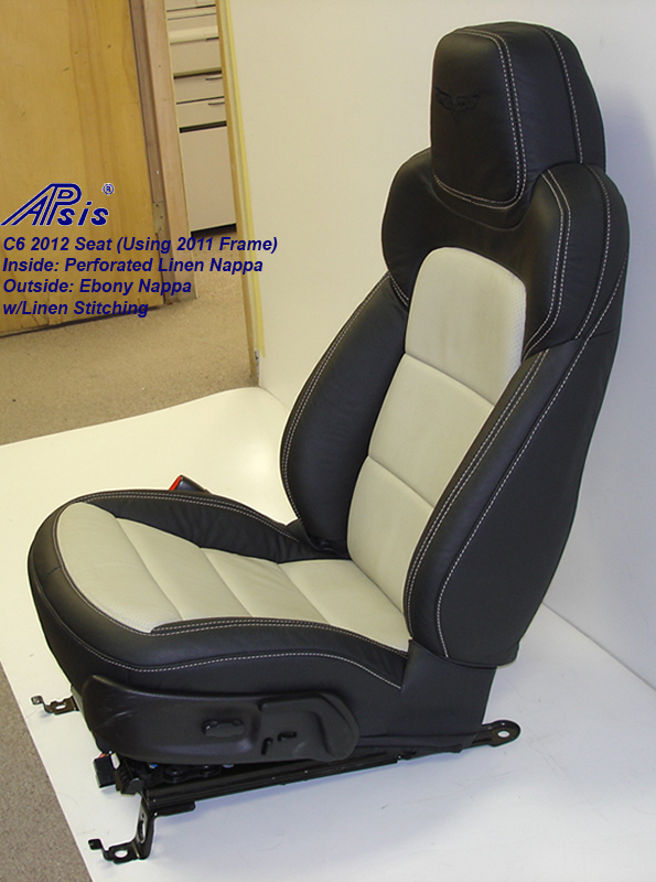 C6 2012 Seat Cover-ebony+linen-driver-side view-2