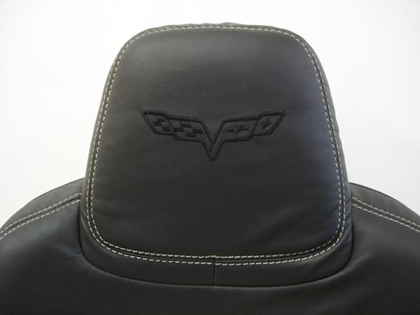 C6 2012 Seat-headrest only-show monochrome logo-1