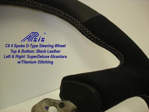 C6 4 Spoke SW-alcan+ebony-titanium stitching-close shot-2