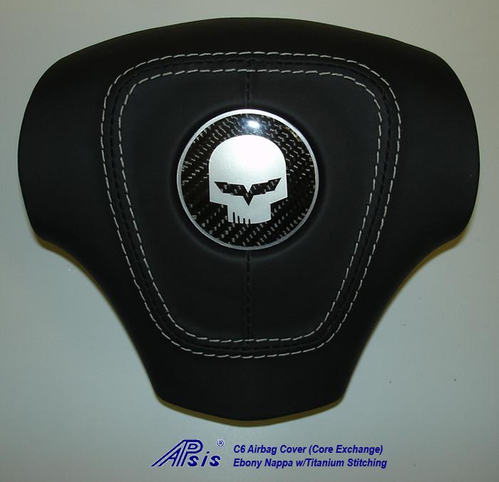 C6 Airbag Cover-core exchange-EB w-titanium stitching w-silv jake-2