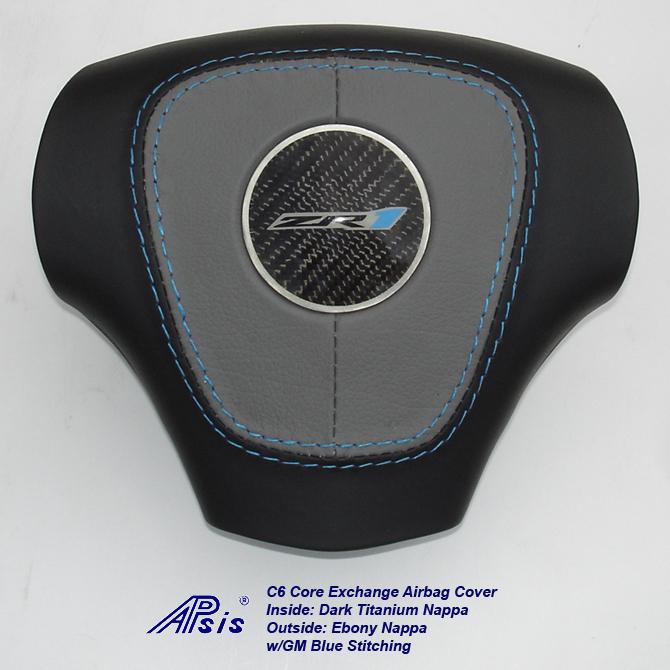 C6 Airbag Cover-dark titanium+ebony w-gm blue stitching w-zr1 logo-1