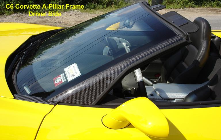 C6 Black CF-A-Pillar Frame-Driver Side-installed-best