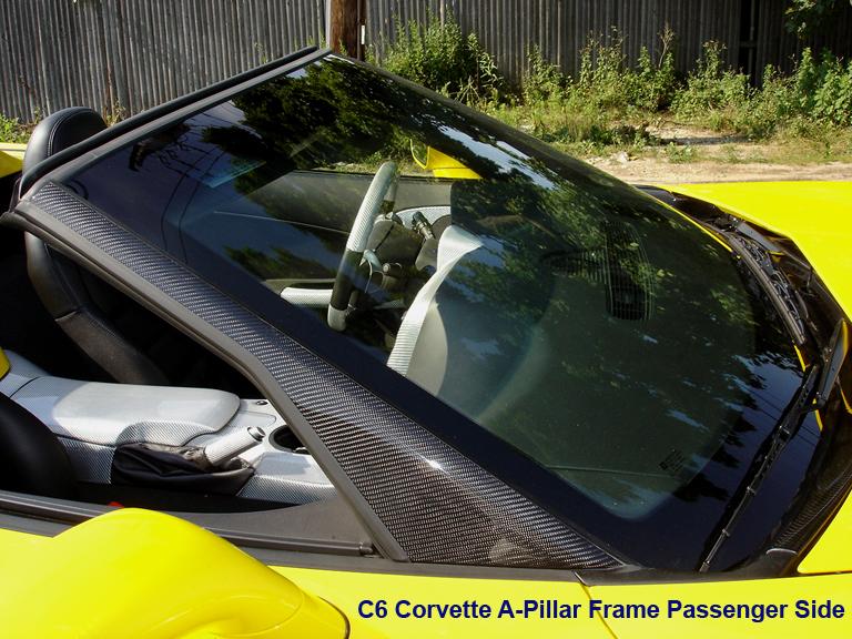 C6 Black CF-A-Pillar Frame-Pass Side-installed-best