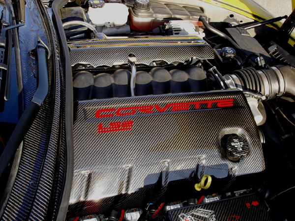 C6 Black CF-Engine Cover-pass side-600