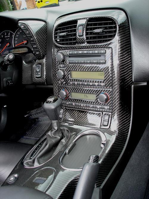 C6 Black CF-installed in alex car w-sk cap & e-brake cap-3-center console only