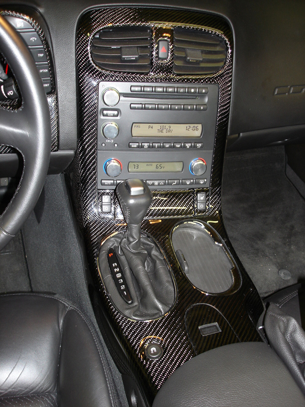 C6 Black CF w-chrome cup holder-center console only -800