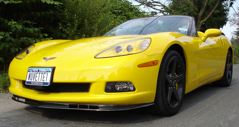 C6 Carbon Front Splitter-installed-front side view-4-crop-done