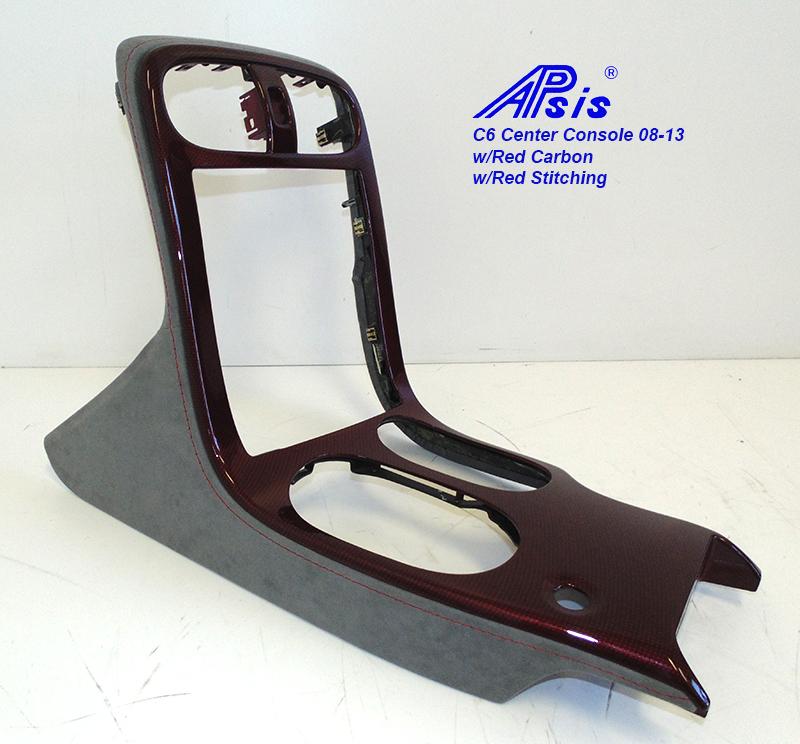 C6 Center Console-Titanium Alcantara + C5R carbon w-red stitching-1