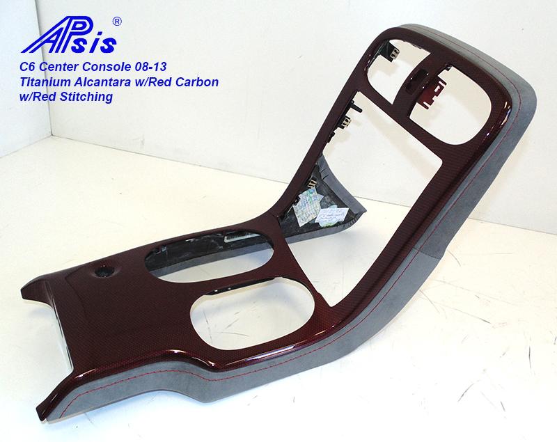 C6 Center Console-Titanium Alcantara + C5R carbon w-red stitching-2