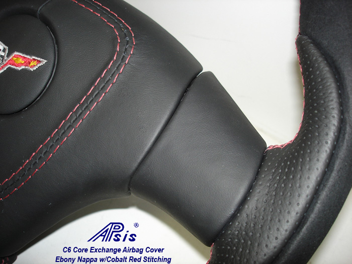 C6 Core Exchange Airbag Cover-ebony w-cobalt red stitching-show the edge-1