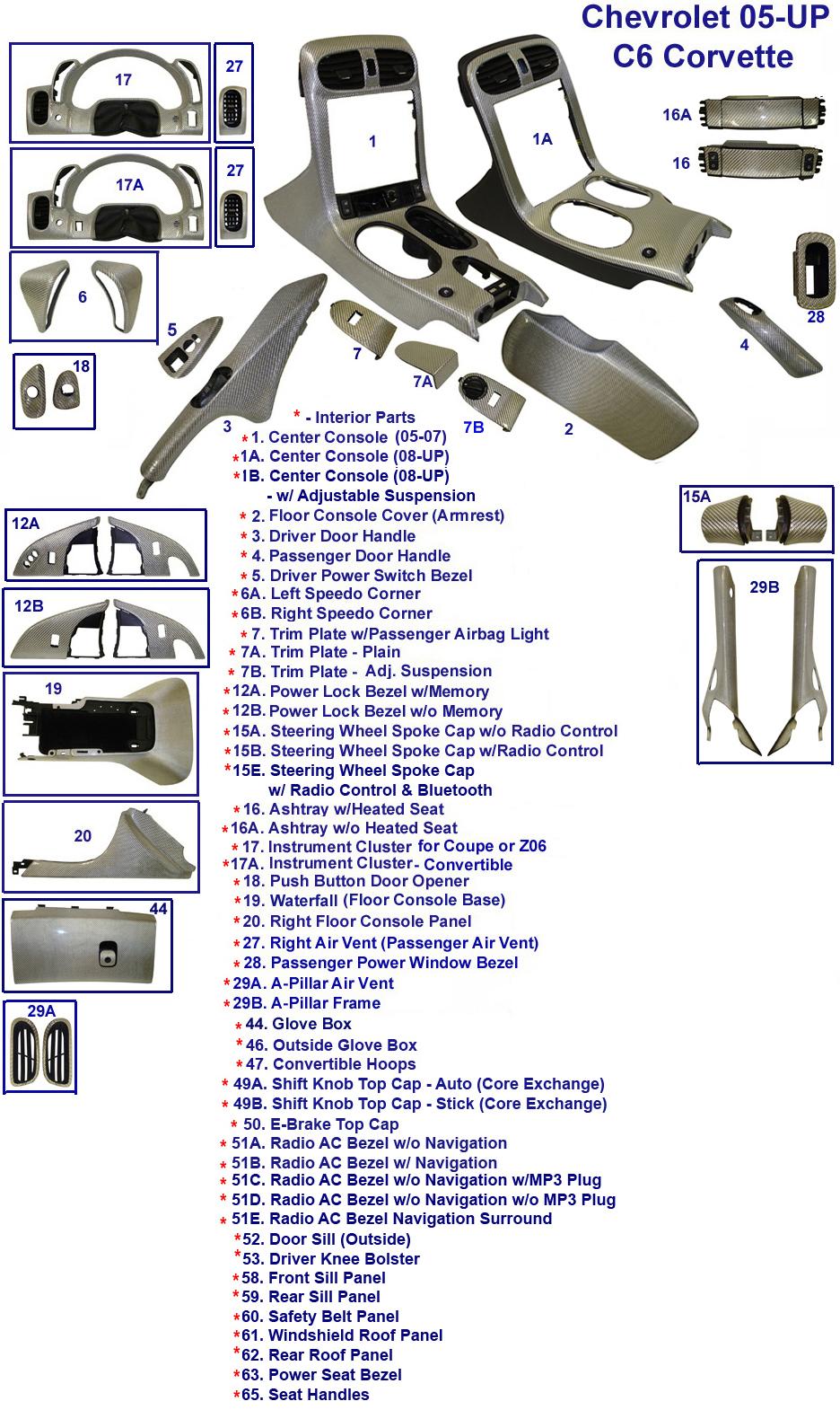 C6 Corvette Silver  CF - Diagram - Interior - 768