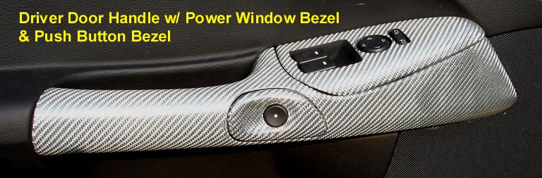 C6 Corvette Silver CF-Driver Door Handle w-Push Button Bezel-768