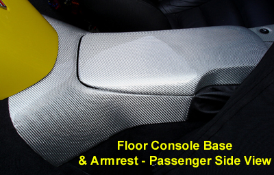 C6 Corvette Silver CF-Floor Console Base-pass view-400