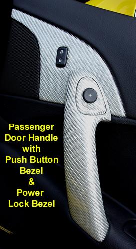 C6 Corvette Silver CF-Pass Door Handle w-Power Lock Bezel & Push Button Bezel-300