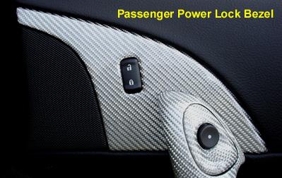 C6 Corvette Silver CF Passenger Power Lock Bezel installed  - 400