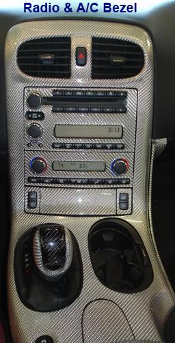 C6 Corvette Silver CF-Radio & AC Bezel