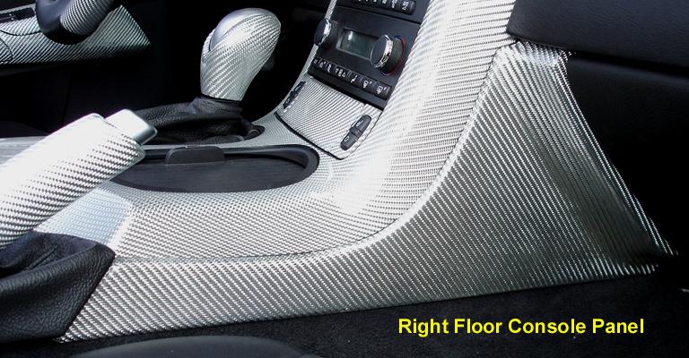 C6 Corvette Silver CF-Right Floor Console Panel-768