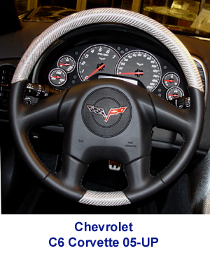 C6 Corvette Silver CF Steering Wheel installed -300