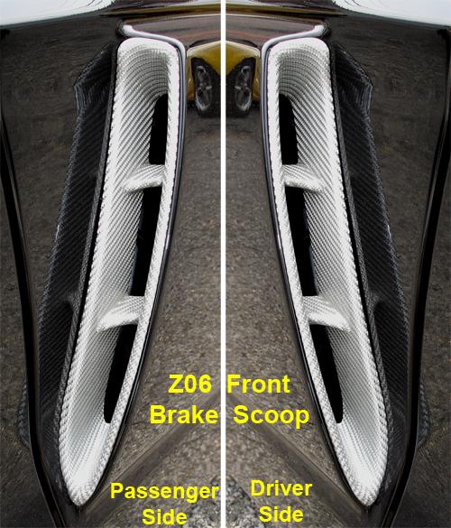 C6 Corvette Silver CF-Z06 Front Brake Scoop