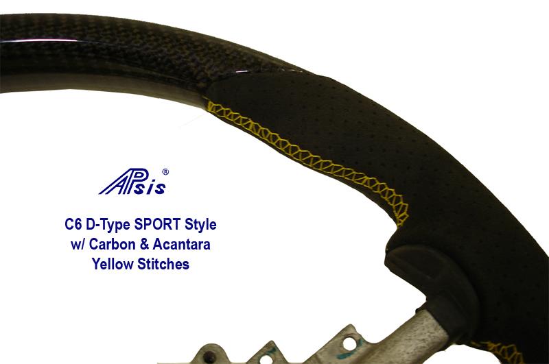 C6 D-Type SW Carbon w- Acantara & Yellow Stitches 800 Close Shot