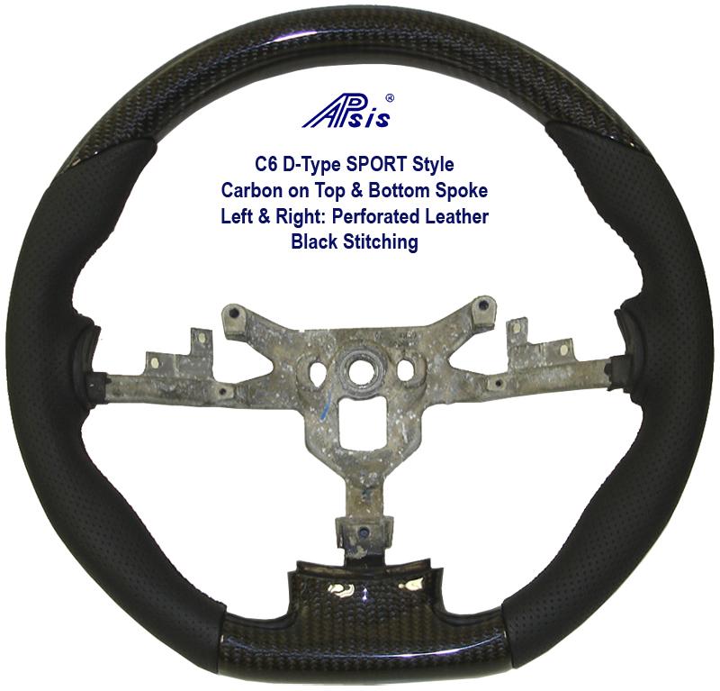 C6 D-Type Sport w-carbon on top & Bottom spoke w-black leather- 800