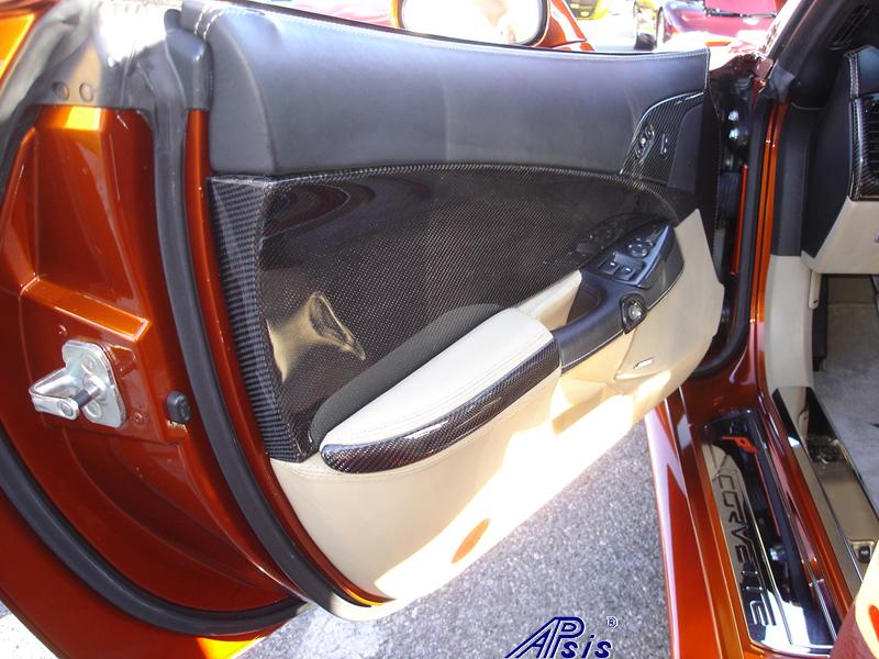C6 Door Panel-CF+EB w-cashmere stitching-installed-2